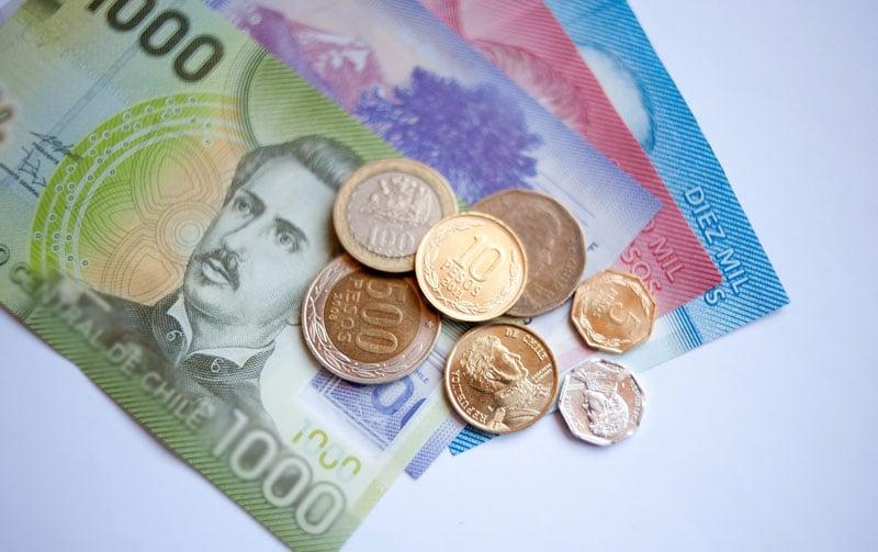 Pesos em espécie e moeda do Chile