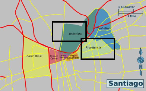 Regiões para ficar em Santiago - Mapa