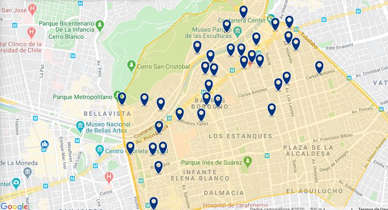 Mapa da melhor região para ficar em Santiago do Chile: Providencia