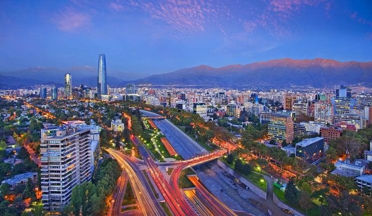 Belíssima vista de Santiago do Chile