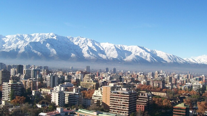 Neve nas proximidades de Santiago do Chile