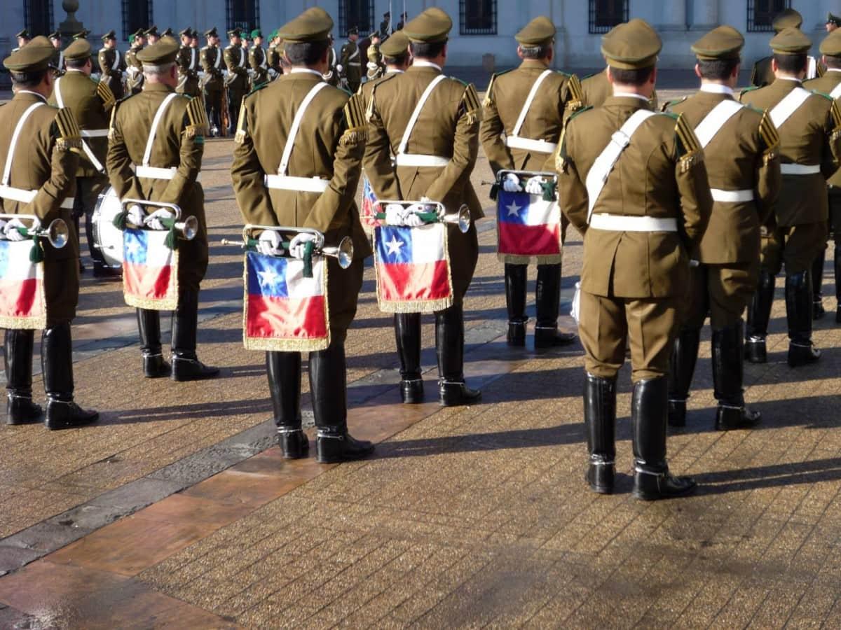 Troca de guardas no Palácio de la Moneda - Santiago