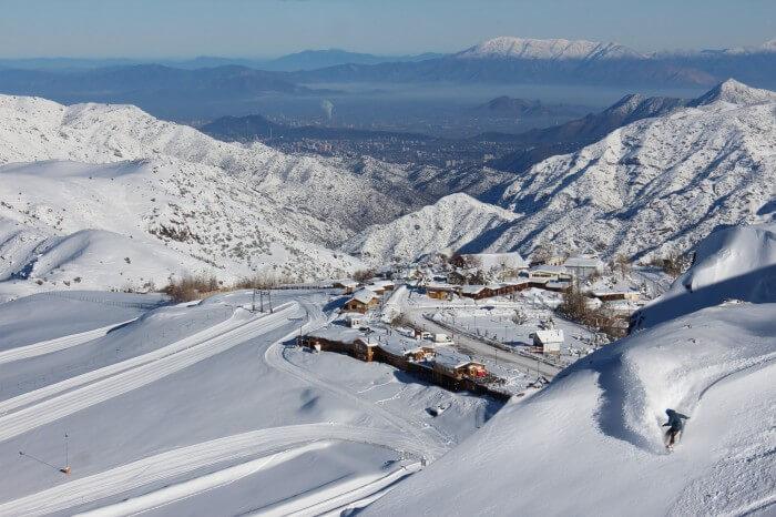 Estação de esqui Farellones no Chile