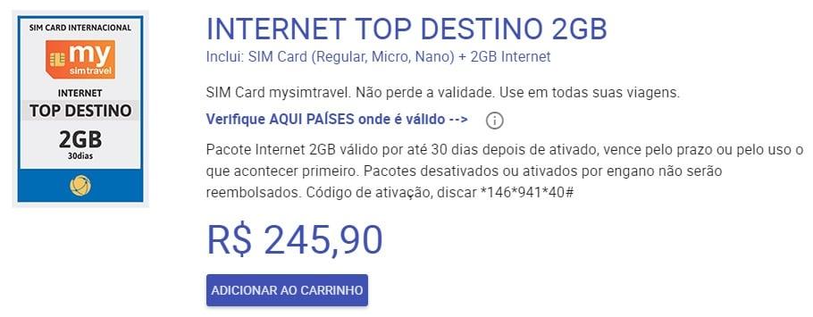 Pacote de Internet de chip pré pago Mysimtravel