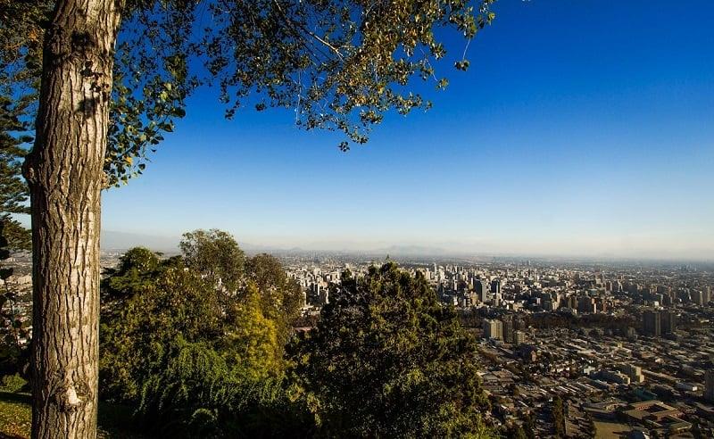 Vista do Cerro San Cristóbal em Santiago