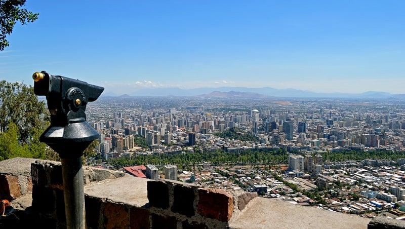 Vista panorâmica de Santiago do Chile