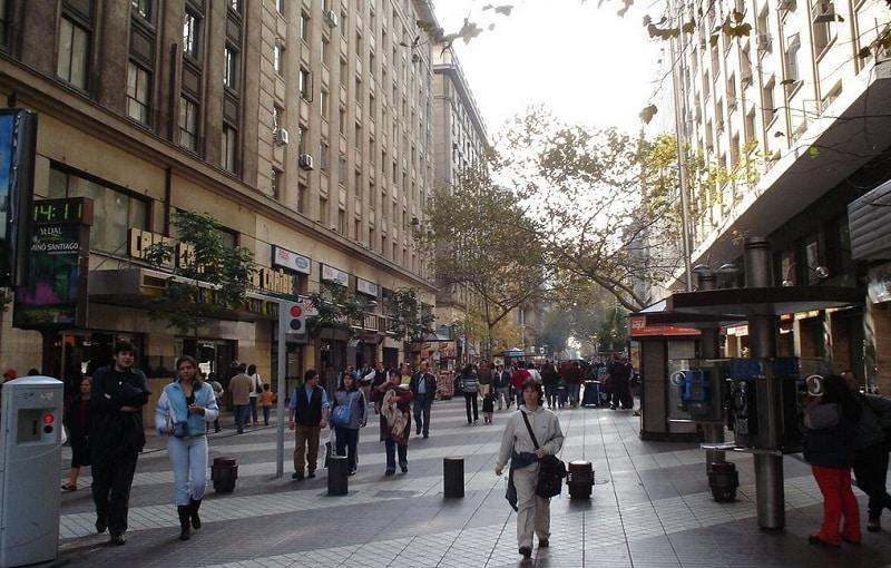 Paseo Ahumada em Santiago