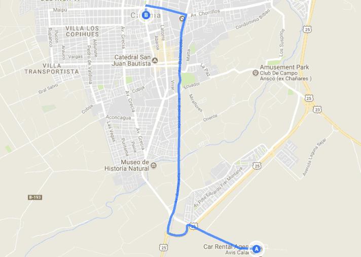 Percurso do aeroporto Aeroporto El Loa até o centro de Calama