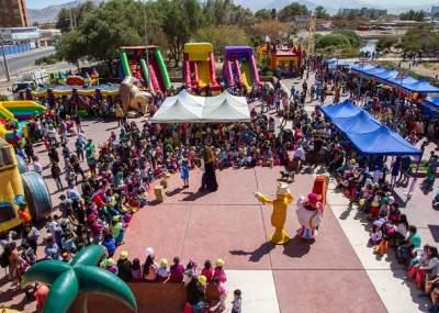 Atividades infantis no Parque El Loa, em Calama