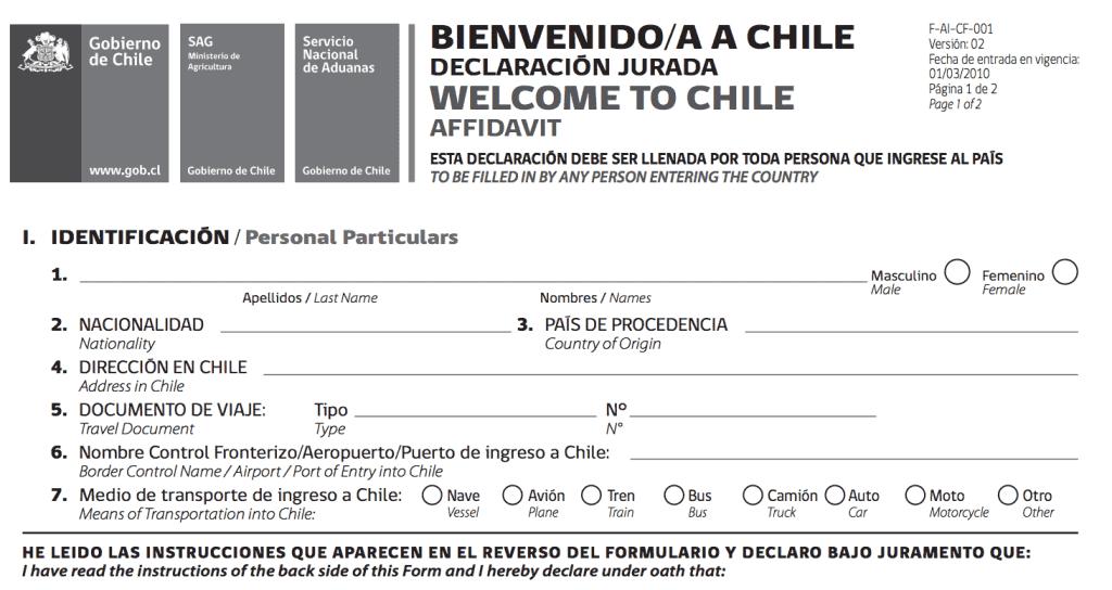 Formulário de chegada ao Chile