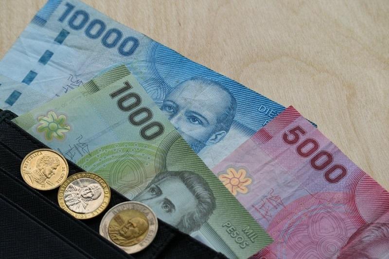 Carteira com pesos chilenos