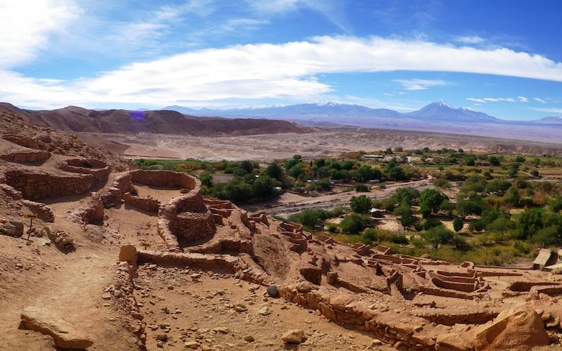 Sítio arqueológico Pukará de Quitor em San Pedro de Atacama no Chile: vista