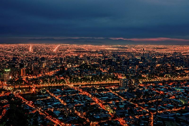 Luzes na noite em Santiago