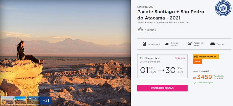 Pacote Hurb Santiago + São Pedro do Atacama