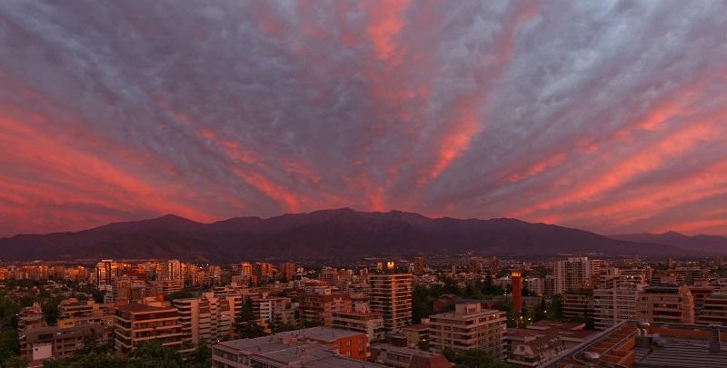 Pôr do sol em Santiago no Chile