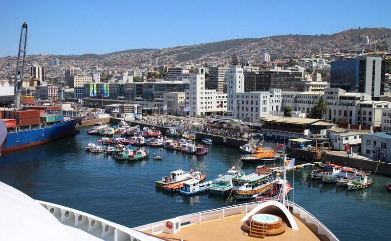 Vista da cidade Valparaíso no Chile